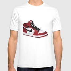 Nike Air Force 1 - Retro - Red & Black & White Mens Fitted Tee White SMALL