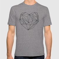 Heart Graphic (black on white) Mens Fitted Tee Tri-Grey SMALL