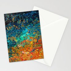 ETERNAL TIDE 2 Rainbow Ombre Ocean Waves Abstract Acrylic Painting Summer Colorful Beach Blue Orange Stationery Cards