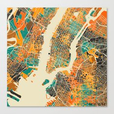 New York Mosaic Map #2 Canvas Print