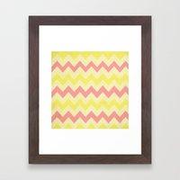 Summer Pink & Yellow Chevron Framed Art Print