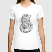 Stacked Tea Cups Womens Fitted Tee White SMALL