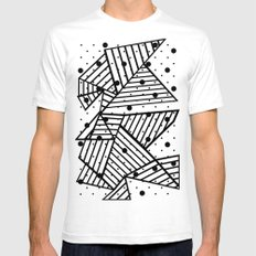 Abstract Spots Close Up White Mens Fitted Tee SMALL