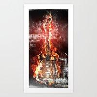 Brennende Gitarre Art Print