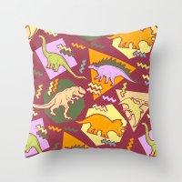 Nineties Dinosaur Pattern version 2. Throw Pillow