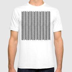 Herringbone Stripe Mens Fitted Tee White SMALL