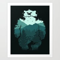 Hunting Season - Blue Art Print