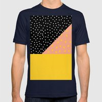 Peach Fuzz Black Polka Dot /// www.pencilmeinstationery.com Mens Fitted Tee Navy SMALL