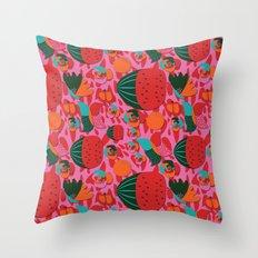 Watermelons and butterflies Throw Pillow