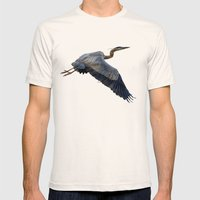 Great Blue Heron In Fly Mens Fitted Tee Natural SMALL