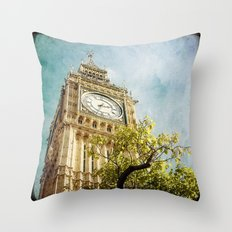 Clock Tower behind tree - London Throw Pillow