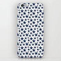 Blue stars on white background illustration iPhone & iPod Skin