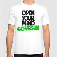 Open Your Mind Go Vegan Mens Fitted Tee White SMALL