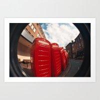 Kingston telephone boxes Art Print