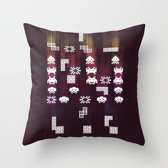 War Of The 8-Bit Worlds Throw Pillow