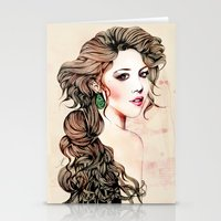 Woman with long hair  Stationery Cards