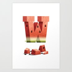W is for Watermelon Art Print