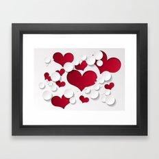 3D Hearts Framed Art Print