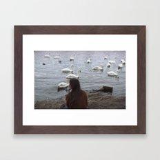 WOMEN AND SWANS Framed Art Print