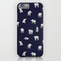iPhone Cases featuring Indian Baby Elephants in Navy by Estelle F