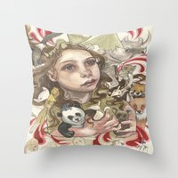 Animal Hugs Throw Pillow