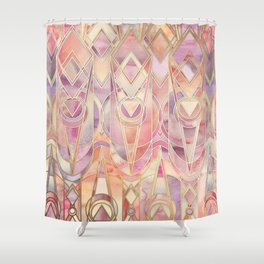 Shower Curtain - Glowing Coral and Amethyst Art Deco Pattern - micklyn