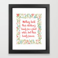 Mothers Hold Their Child… Framed Art Print