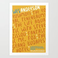 wes anderson Art Prints featuring Wes Anderson - Fantastic Mr. Fox by Laura Mace Design