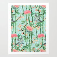 Bamboo, Birds and Blossom - soft blue green Art Print