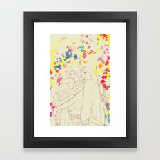 Two girls and a cat Framed Art Print