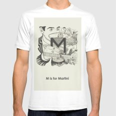 M is for Martini White SMALL Mens Fitted Tee