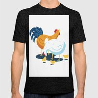 Chicken Family Mens Fitted Tee Tri-Black SMALL