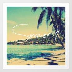 Summer Love Vintage Beach Art Print
