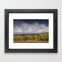 Autumn Trees in a Row with Cloudy Blue Sky by Sleeping Bear Dunes Framed Art Print