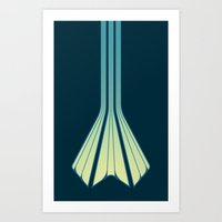 Retro Lines - Blue Flame Art Print