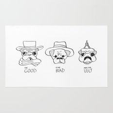 THE GOOD THE BAD AND THE UGLY - PUG VERSION Rug