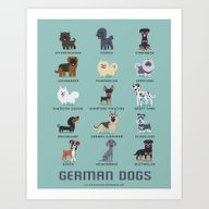 Art Print featuring GERMAN DOGS by DoggieDrawings