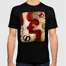 Red Digital Engraving Twin Faces Black Mens Fitted Tee SMALL