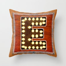 Monogram Letter E - Vintage Style Lighted Sign Throw Pillow