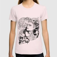 Full Moon Womens Fitted Tee Light Pink SMALL