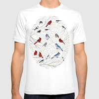Winter Birds Mens Fitted Tee White SMALL