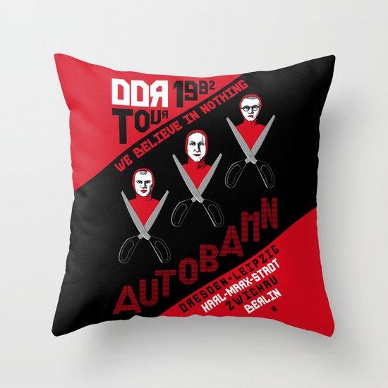 Autobahn--East German Tour 1982 Throw Pillow