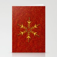 Golden Snowflake On Red … Stationery Cards