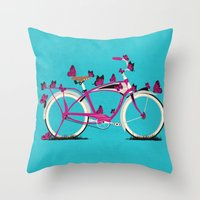 Butterfly Bicycle Throw Pillow