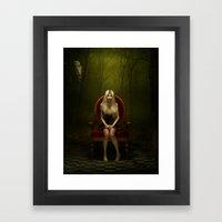 Dark wonderland Alice on a red chair Framed Art Print