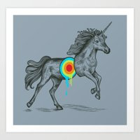rainbow Art Prints featuring Unicore II by Rachel Caldwell