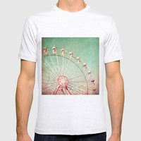 Ferris Wheel on Blue Textured Sky  Mens Fitted Tee Ash Grey SMALL