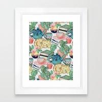 Lazy Afternoon - a chalk pastel illustration pattern Framed Art Print