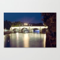 Bridges Of Paris By Nigh… Canvas Print