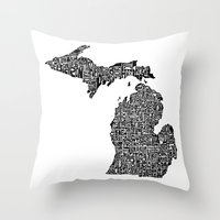Typographic Michigan Throw Pillow